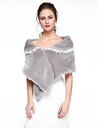Women's Wrap Ponchos Faux Fur Wedding Party/Evening Lace