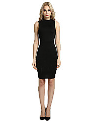 Women's O Neck Sleeveless Middle Dress Solid Hollow Out Bodycon Dress