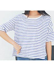 unterzeichnen 3 Farbe lose große Yards gestreiften T-Shirt weiblichen Sommer Kurzarm-T-Shirt Marinewind