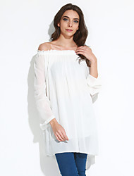 Women's Off The Shoulder/Flare Sleeve Solid White/Black Dress,Casual/Sexy Off Shoulder Long Sleeve Ruffle Loose