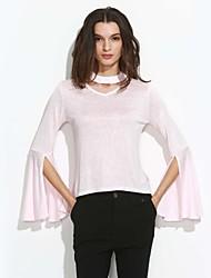 Damen Solide Einfach Lässig/Alltäglich T-shirt,Rundhalsausschnitt Herbst / Winter Langarm Rosa Baumwolle Mittel