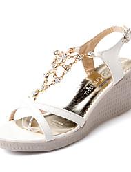 Damen-Sandalen-Kleid Lässig-Kunstleder-Keilabsatz-Fersenriemen-Blau Lila Weiß