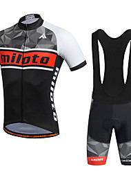Miloto Cycling Jersey with Bib Shorts Men's Short Sleeve BikeBreathable Quick Dry Moisture Permeability Lightweight Materials 3D Pad