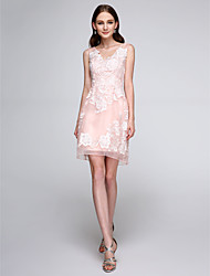 LAN TING BRIDE Short / Mini V-neck Bridesmaid Dress - Floral Sleeveless Organza
