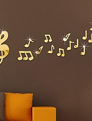 Música Espejos De moda Pegatinas de pared Calcomanías 3D para Pared Adhesivos de Pared Espejo Calcomanías Decorativas de Pared,Vidrio