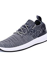 Masculino-Tênis-Conforto-Rasteiro-Preto Cinzento Escuro Cinzento Claro-Tecido-Ar-Livre Casual Para Esporte