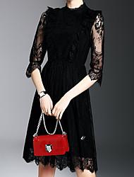 Feminino Bainha Vestidinho Preto Vestido, Para Noite Casual Trabalho Simples Moda de Rua Sofisticado Sólido Bordado Colarinho Chinês