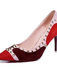 Damen-High Heels-Outddor-PU-Stöckelabsatz-Komfort-Schwarz Burgund