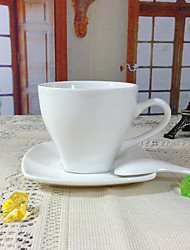 1 PC 180ML Simple Ceramic Cup And Saucer Pure White Coffee Tea Cup Set