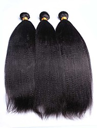 Brazilian Virgin Hair Italian Yaki Human Hair Weaves 3Bundles Natural Color