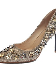 Women's Heels Spring Summer Comfort Light Up Shoes PU Dress Casual Stiletto Heel Others Black Silver Gold