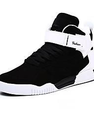Men's Sneakers Spring Fall Comfort PU Casual Flat Heel Hook & Loop Black White Black and White