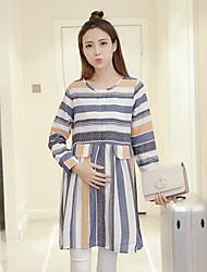 les femmes enceintes signe place 2016 nouveau printemps de la mode robe jupe rayée korean et de longues sections