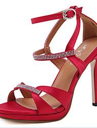 Damen-Sandalen-Büro Kleid Party & Festivität-Mikrofaser-Stöckelabsatz-Komfort Neuheit-Schwarz Rot