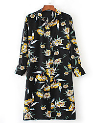 Women's Going out Casual/Daily Holiday Vintage Boho Street chic Sheath Shirt Dress,Floral Patchwork Beaded Bow Shirt Collar Knee-length