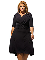 Women Dress Plus Size Solid Color Ruched V Neck Half Sleeve Irregular Asymmetric Midi Elegant One-Piece