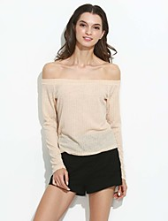 Women's Off The Shoulder Going out / Casual/Daily / Beach Sexy / Simple / Street chic Spring / Summer ShirtSolid Off Shoulder