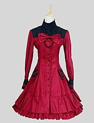 Uma-Peça/Vestidos Doce Rococo Cosplay Vestidos Lolita Vermelho Vinho Cor Única Manga Comprida Longuete Vestido Anágua Para Feminino