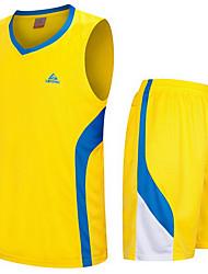 Men's Short Sleeve Basketball Running Sweatshirt Tops Baggy Shorts Breathable Sweat-wicking Comfortable Yellow Green BlueYellow Green