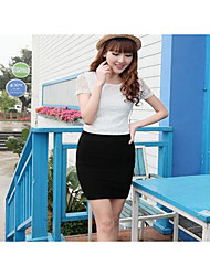 Women's Bodycon Solid Skirts,Casual/Daily High Rise Mini Elasticity Cotton Micro-elastic Fall