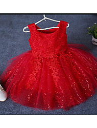 Ball Gown Short / Mini Flower Girl Dress - Organza Sleeveless Jewel with Lace