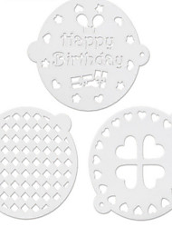 3PCS Baking Powder Sieve Sugar Cake Decoration Baking Mold Injection Mold Printing Membrane Round 8Suits