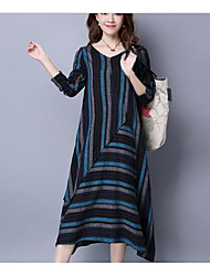 Women's Casual/Daily Vintage A Line Loose Dress,Striped V Neck Midi Knee-length Long Sleeve Blue Red Linen Fall High Rise Micro-elastic