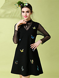 Women Vintage Fashion Sexy See Through Gauze Patchwork Embroidery Butterfly Long Sleeve Plus Size Dress