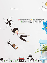 Windmill Boy With Dog Wall Stickers Creative DIY Bedroom Wall Decals