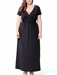Mujer Corte Swing Vestido Casual/Diario Simple,Un Color Escote en Pico Maxi Manga Corta Negro Morado Poliéster Verano Tiro Alto