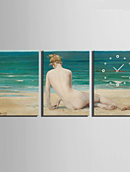 E-HOME® Back on The Beach Clock in Canvas 3pcs