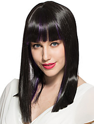 Straight Wig Medium Long Mix Black With Bangs Synthetic Fiber Wig Hairstyle