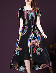 Women's Plus Size Going out Sophisticated Loose Swing Dress,Print Round Neck Midi Short Sleeve Polyester Black Summer Mid Rise Inelastic