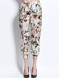 Women's Harem Chinos Pants,Going out Simple Print Mid Rise Elasticity Cotton Polyester Micro-elastic Spring Summer