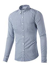 Men's Casual/Daily Simple Spring Fall Shirt,Check Shirt Collar Long Sleeve Gray Cotton Medium