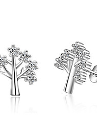 Fine AAA Cubic Zirconia Wish Life Tree Stud Earrings Jewelry Wedding Party Daily Casual Pearl Alloy 1 pair Silver Color