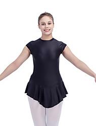 Ballet Skating Dresses Women's Children's Performance Nylon Lycra Buttons 1 Piece Short Sleeve Dress