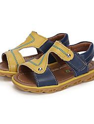 Boy's Sandals Summer Comfort Leather Outdoor Casual Party & Evening Flat Heel Split Joint Hook & Loop Orange Light Blue Navy Blue