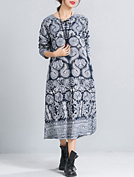 Women's Plus Size / Casual Vintage Ethnic Print Loose DressPaisley Midi Long Sleeve Blue Cotton / Linen Spring /Fall
