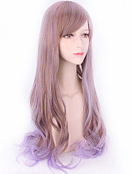 Flax Brown Mixed Purple Color Wave Long Length Lolita Party Cosplay High Quality Heat Resistant New Design Lolita Wig