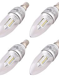 3W E14 LED лампы в форме свечи C37 32 SMD 3014 250 lm Тёплый белый Декоративная AC 85-265 AC 220-240 AC 100-240 V 4 шт.
