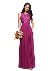 A-Line Jewel Neck Floor Length Chiffon Lace Bridesmaid Dress with Sash / Ribbon by LAN TING BRIDE®