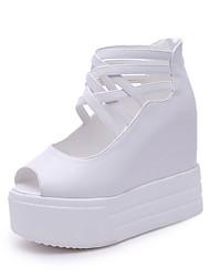 Damen-Sandalen-Büro Kleid Lässig-PU-Keilabsatz-Club-Schuhe-Schwarz Weiß
