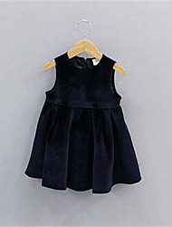 Girl's Solid Dress,Cotton Spring Fall Sleeveless