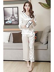 Damen Pyjama - Satin Seide Eis-Seide