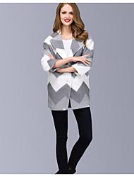 Damen Druck Einfach Ausgehen Lässig/Alltäglich Mantel,Herbst Winter Schal Revers Langarm Auf Links waschen Trocknen Kurz Nylon