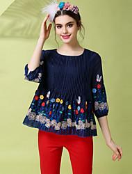 Vintage Ethnic Fashion Women 's Plus Size Embroidery Patchwork Pleat Blouse Shirt Top