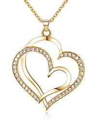 Necklace AAA Cubic Zirconia Pendant Necklaces Jewelry Daily Heart Love Alloy Women 1pc Gift Gold Silver