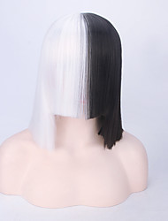 Black and White New Short Straight Heat Resistant European Singer Sia Same Hairstyle Cheap Price High Quality Top Party Cosplay Wig