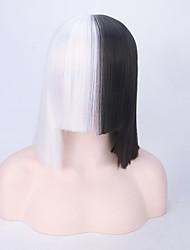preto e branco novo curta de calor reta resistente europeu cantor sia mesmo penteado preço barato de alta qualidade partido topo peruca